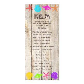 Programas de madeira do casamento do litoral 10.16 x 22.86cm panfleto