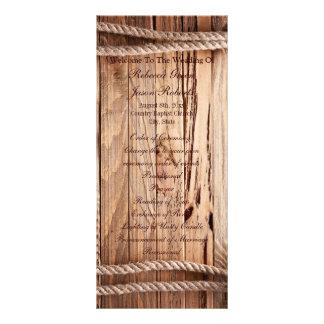 programas de madeira do casamento do país 10.16 x 22.86cm panfleto