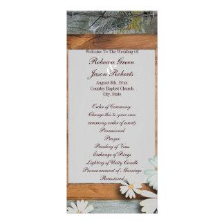 programas de madeira do casamento do país do 10.16 x 22.86cm panfleto