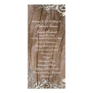 programas de madeira do casamento do país do laço 10.16 x 22.86cm panfleto