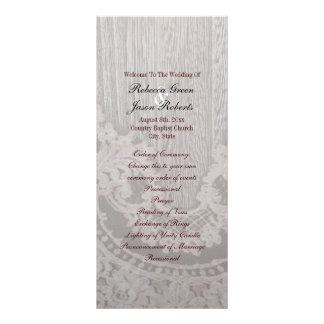 Programas de madeira rústicos do casamento do país 10.16 x 22.86cm panfleto