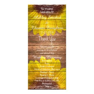 Programas de madeira rústicos do casamento dos 10.16 x 22.86cm panfleto