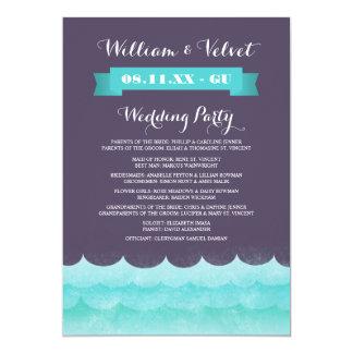 Programas do casamento de praia das ondas de convite 12.7 x 17.78cm