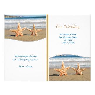 Programas do casamento de praia do casal da flyer 21.59 x 27.94cm