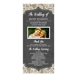 Programas do casamento do laço de serapilheira do 10.16 x 22.86cm panfleto