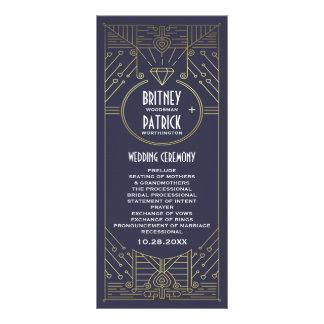 Programas do casamento do marinho e do ouro do 10.16 x 22.86cm panfleto