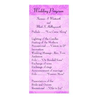 Programas do casamento do rosa quente, casamento 10.16 x 22.86cm panfleto