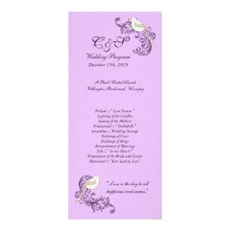 Programas do casamento do roxo/lavanda dos pássaro modelo de panfleto informativo