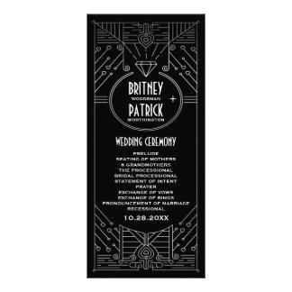 Programas do casamento preto e de prata do vintage 10.16 x 22.86cm panfleto