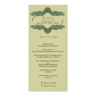 Programas do casamento - verde & ouro panfleto informativo