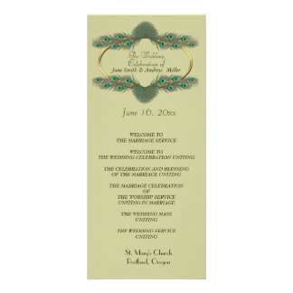 Programas do casamento - verde & ouro 10.16 x 22.86cm panfleto