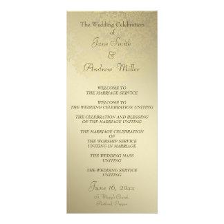 Programas dourados do casamento da cor damasco 10.16 x 22.86cm panfleto