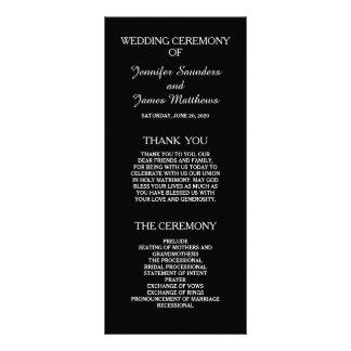 Programas elegantes preto e branco do casamento panfleto informativo personalizado