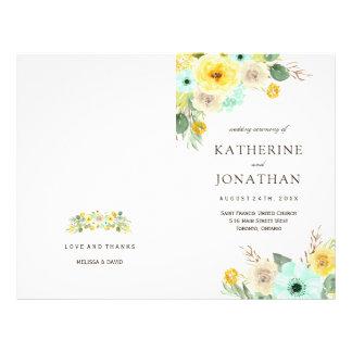 Programas florais da hortelã e do casamento do flyer 21.59 x 27.94cm