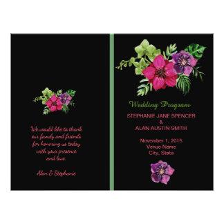 Programas florais verdes roxos do casamento do flyer