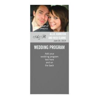 Programas modernos do casamento da foto convite 10.16 x 23.49cm