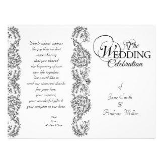 Programas preto e branco do casamento tema damasco modelo de panfleto