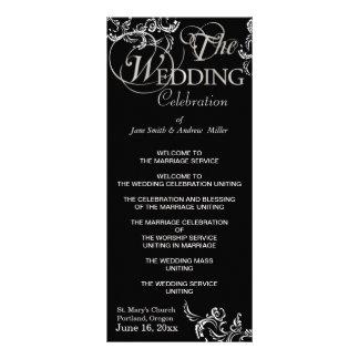 Programas pretos & brancos do casamento 10.16 x 22.86cm panfleto