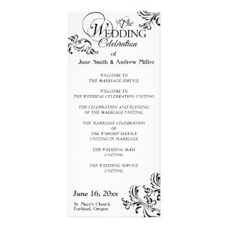 Programas pretos & brancos simples do casamento te 10.16 x 22.86cm panfleto