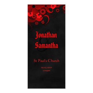 Programas pretos florais vermelhos do casamento do 10.16 x 22.86cm panfleto