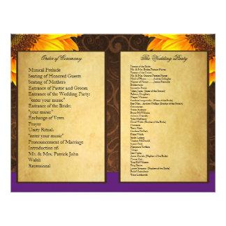 Programas roxos da cerimónia de casamento do panfleto personalizado