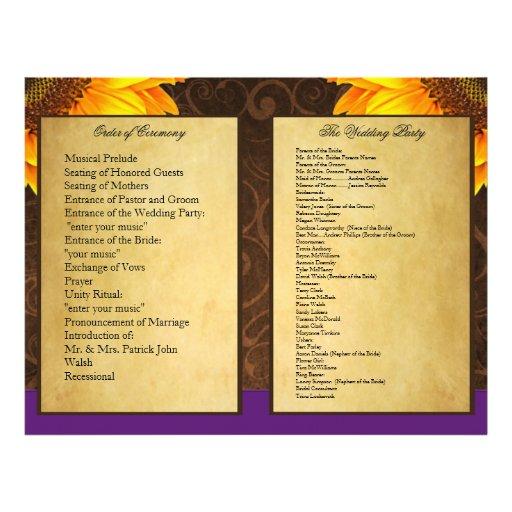 Programas roxos da cerimónia de casamento do giras panfleto personalizado