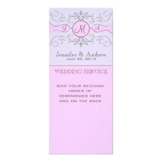 Programas roxos do casamento da igreja do vintage convite 10.16 x 23.49cm