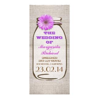 Programas roxos rústicos do casamento do frasco de 10.16 x 22.86cm panfleto