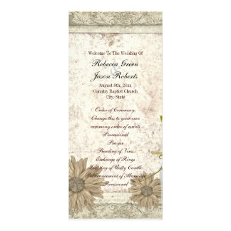 programas rústicos do casamento da margarida 10.16 x 22.86cm panfleto