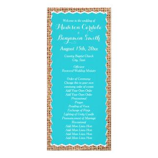 Programas rústicos do casamento de turquesa de 10.16 x 22.86cm panfleto