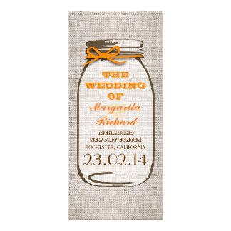 Programas rústicos do casamento do frasco de pedre panfleto personalizado