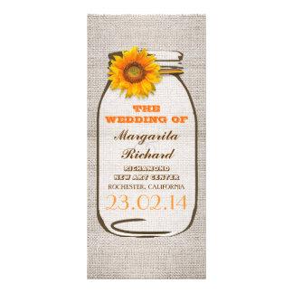 Programas rústicos do casamento do girassol do fra panfleto informativo personalizado