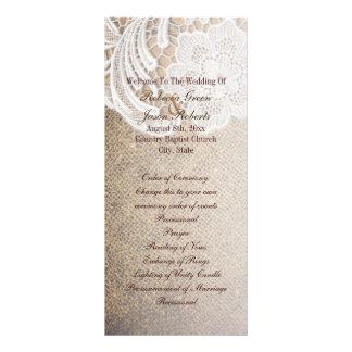 programas rústicos do casamento do laço de 10.16 x 22.86cm panfleto