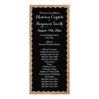 Programas rústicos do casamento do preto de 10.16 x 22.86cm panfleto