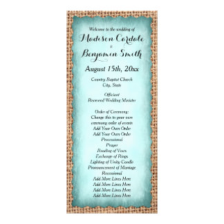Programas rústicos do casamento do verde da 10.16 x 22.86cm panfleto