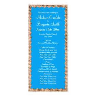 Programas rústicos do casamento dos azul-céu de 10.16 x 22.86cm panfleto