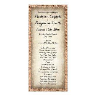 Programas rústicos do casamento vintage de 10.16 x 22.86cm panfleto