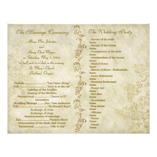 Programas sujos do casamento do vintage modelo de panfletos