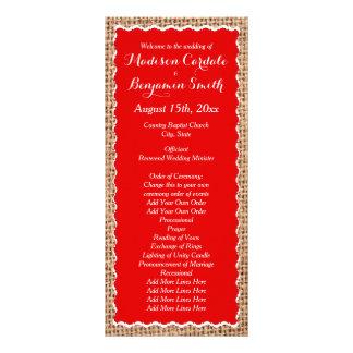 Programas vermelhos do casamento de serapilheira 10.16 x 22.86cm panfleto