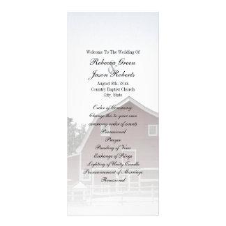 programas vermelhos do casamento do celeiro da 10.16 x 22.86cm panfleto