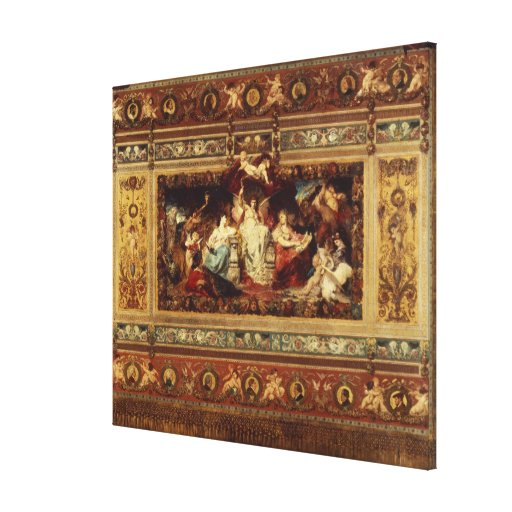 Projete para a cortina na ópera de Dresden Impressão De Canvas Envolvida