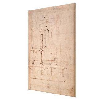 Projete para o túmulo do papa Julius II Impressão De Canvas Esticada