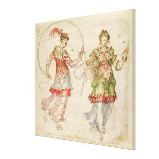 Projete para trajes, provavelmente no florentino e impressão em tela