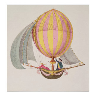Projete para um dirigible, francês, c.1785 pôsteres