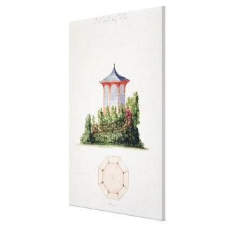 Projete para um pavilhão no estilo oriental simpli impressão em tela