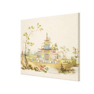 Projete para um templo chinês, c.1810 (caneta & ti impressão de canvas esticada
