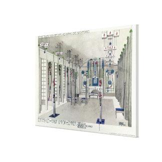 Projete para uma sala da música com os painéis por impressão de canvas esticadas