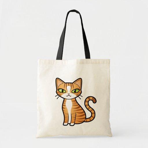 Projete seu próprio gato dos desenhos animados bolsas para compras