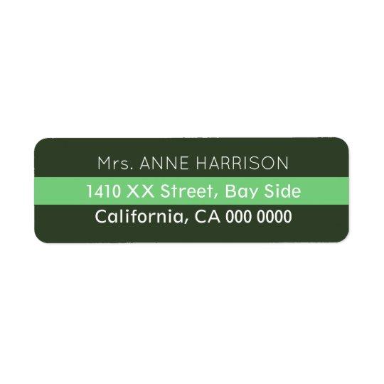 projete um verde listrado etiqueta endereço de retorno