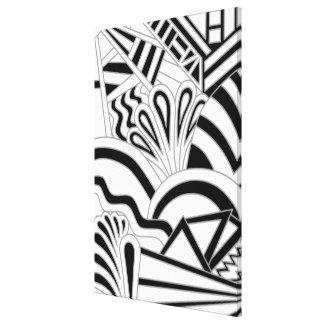 Projeto monocromático do art deco impressão de canvas esticadas